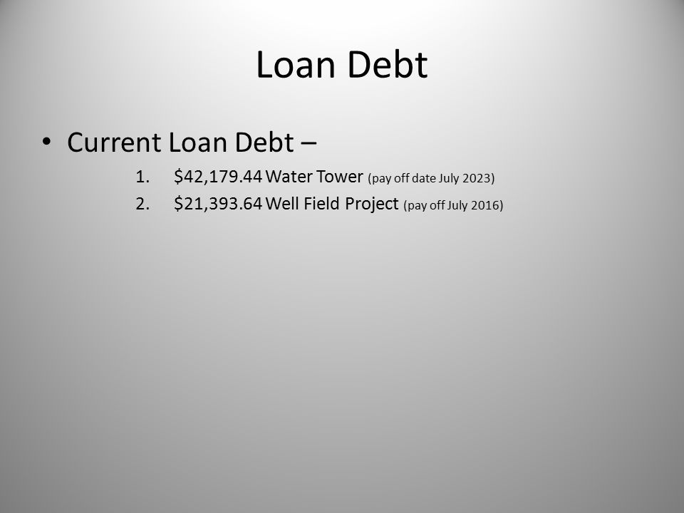 Loan Debt Current Loan Debt – 1.$42,179.44 Water Tower (pay off date July 2023) 2.$21,393.64 Well Field Project (pay off July 2016)