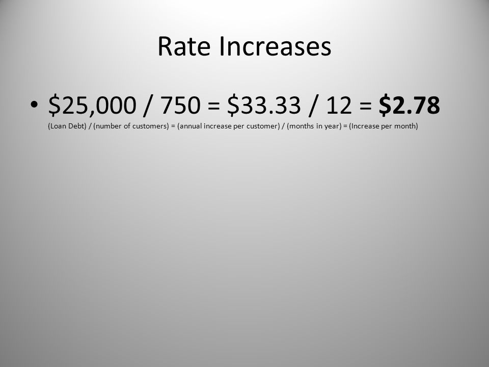 Rate Increases $25,000 / 750 = $33.33 / 12 = $2.78 (Loan Debt) / (number of customers) = (annual increase per customer) / (months in year) = (Increase per month)
