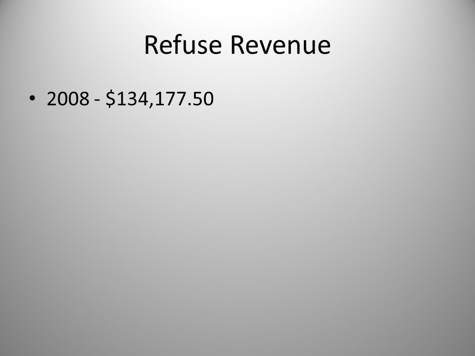Refuse Revenue 2008 - $134,177.50