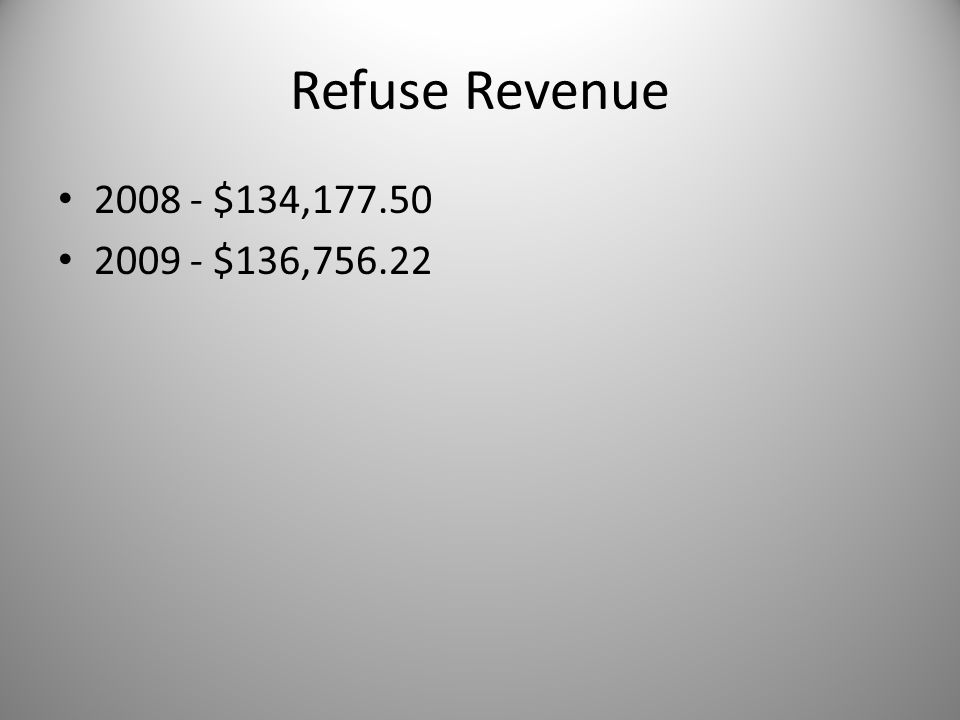 Refuse Revenue 2008 - $134,177.50 2009 - $136,756.22