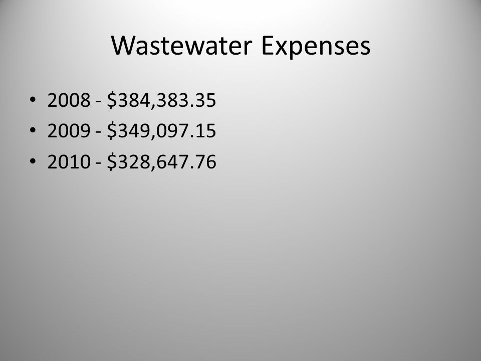 Wastewater Expenses 2008 - $384,383.35 2009 - $349,097.15 2010 - $328,647.76
