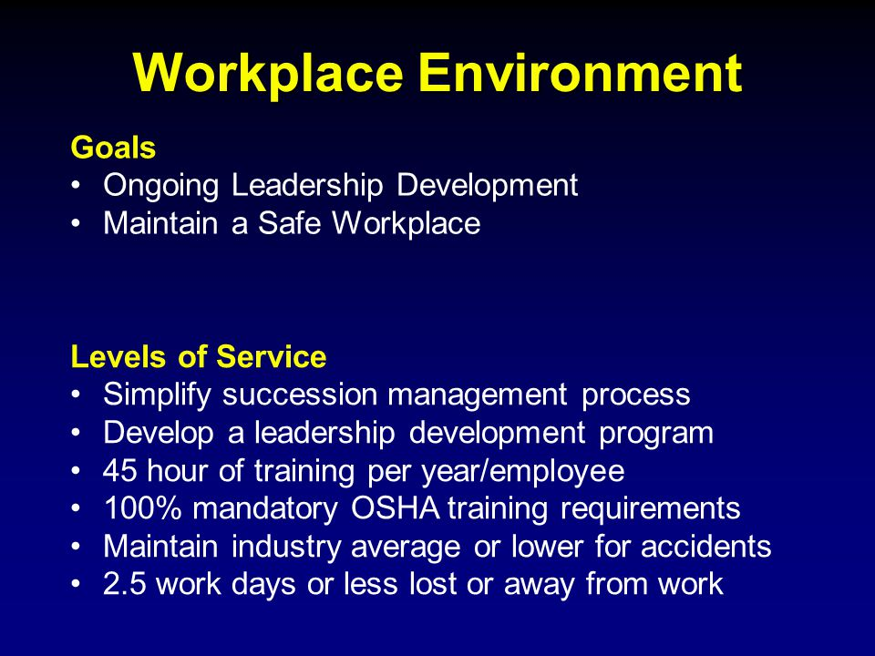 Workplace Environment Goals Ongoing Leadership Development Maintain a Safe Workplace Levels of Service Simplify succession management process Develop a leadership development program 45 hour of training per year/employee 100% mandatory OSHA training requirements Maintain industry average or lower for accidents 2.5 work days or less lost or away from work