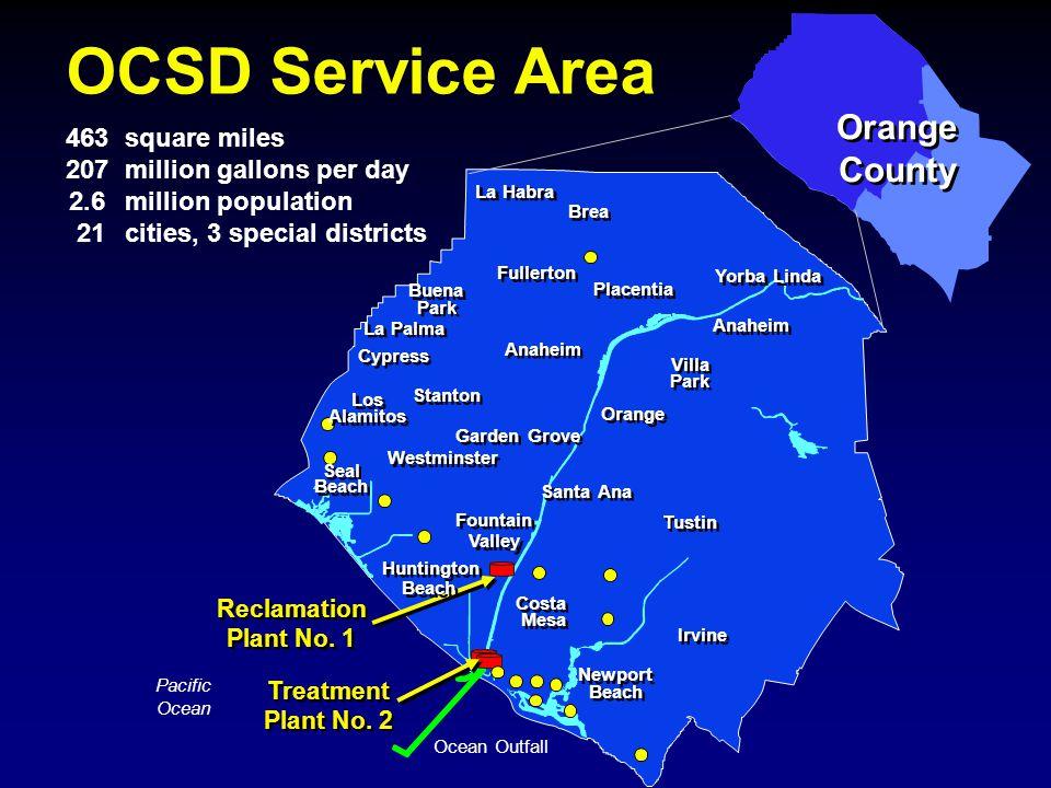 Orange County Pacific Ocean Ocean Outfall Reclamation Plant No. 1 Treatment Plant No. 2 Newport Beach Fountain Valley Santa Ana Los Alamitos Buena Par
