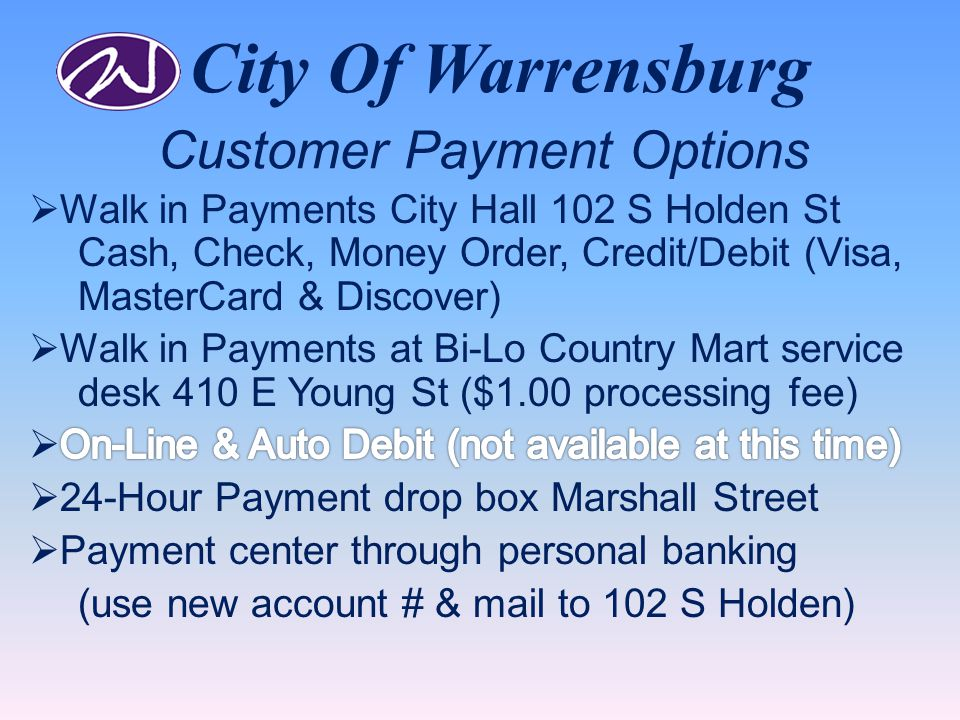 City Of Warrensburg Customer Payment Options