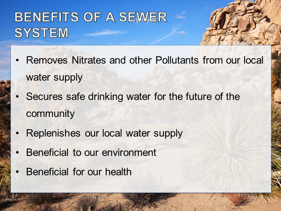 Removes Nitrates and other Pollutants from our local water supply Secures safe drinking water for the future of the community Replenishes our local water supply Beneficial to our environment Beneficial for our health