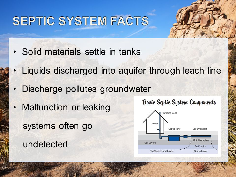 Solid materials settle in tanks Liquids discharged into aquifer through leach line Discharge pollutes groundwater Malfunction or leaking systems often go undetected
