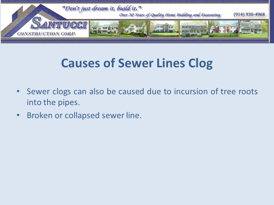 Causes of Sewer Lines Clog Sewer clogs can also be caused due to incursion of tree roots into the pipes. Broken or collapsed sewer line.