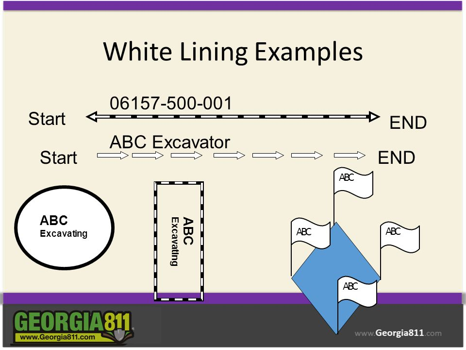 White Lining Examples Start END 06157-500-001 StartEND ABC Excavator ABC Excavating ABC ABC Excavating