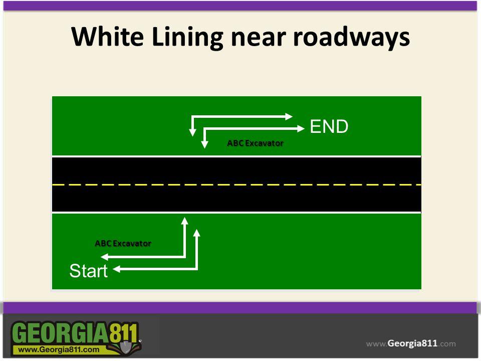 White Lining near roadways ABC Excavator Start END