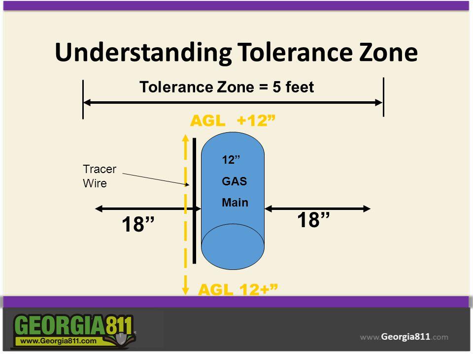 "Understanding Tolerance Zone 12"" GAS Main 18"" Tolerance Zone = 5 feet AGL +12"" AGL 12+"" Tracer Wire"