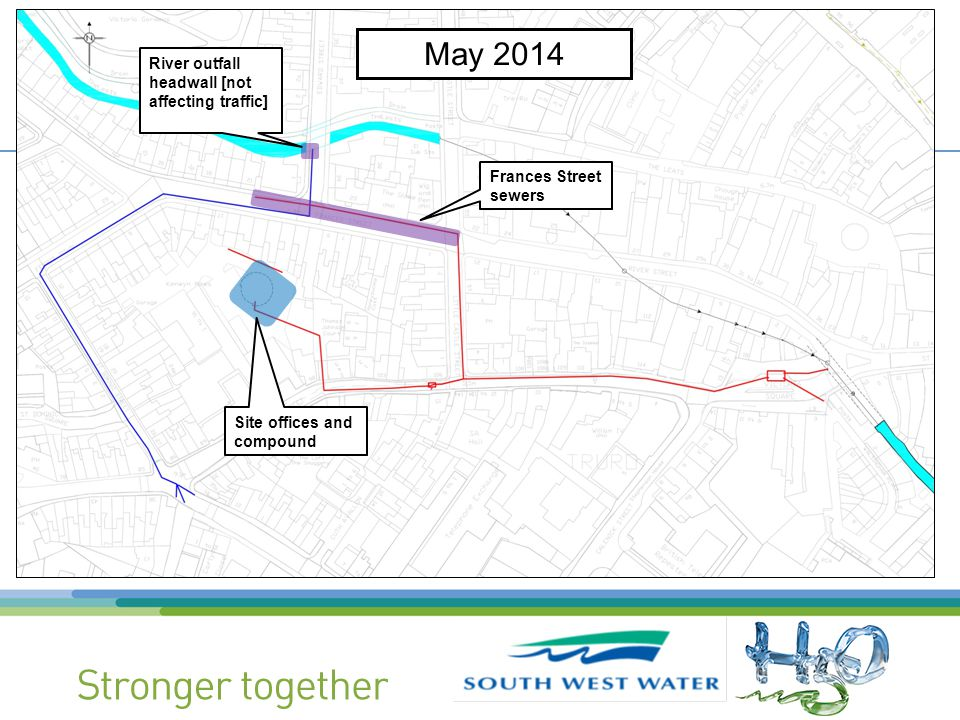 Site offices and compound Frances Street sewers River outfall headwall [not affecting traffic] May 2014