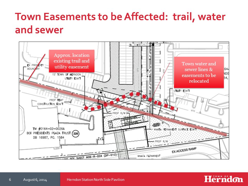 Town Easements to be Affected: trail, water and sewer Herndon Station North Side PavilionAugust 6, 20146 Approx.
