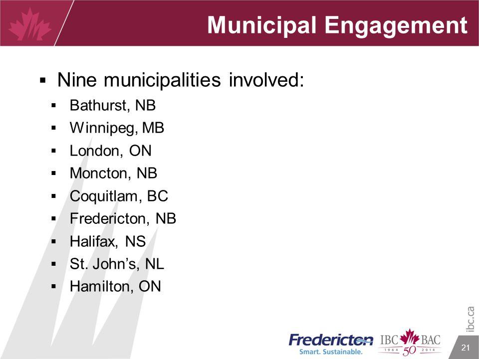 21 Municipal Engagement  Nine municipalities involved:  Bathurst, NB  Winnipeg, MB  London, ON  Moncton, NB  Coquitlam, BC  Fredericton, NB  H