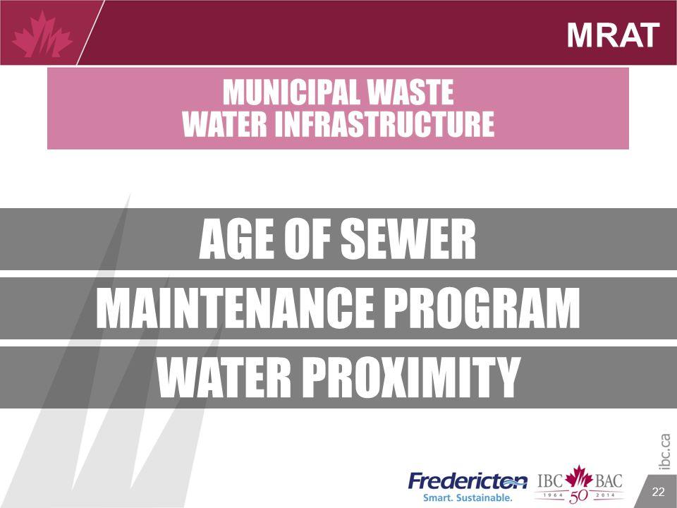 22 MRAT AGE OF SEWER MAINTENANCE PROGRAM WATER PROXIMITY