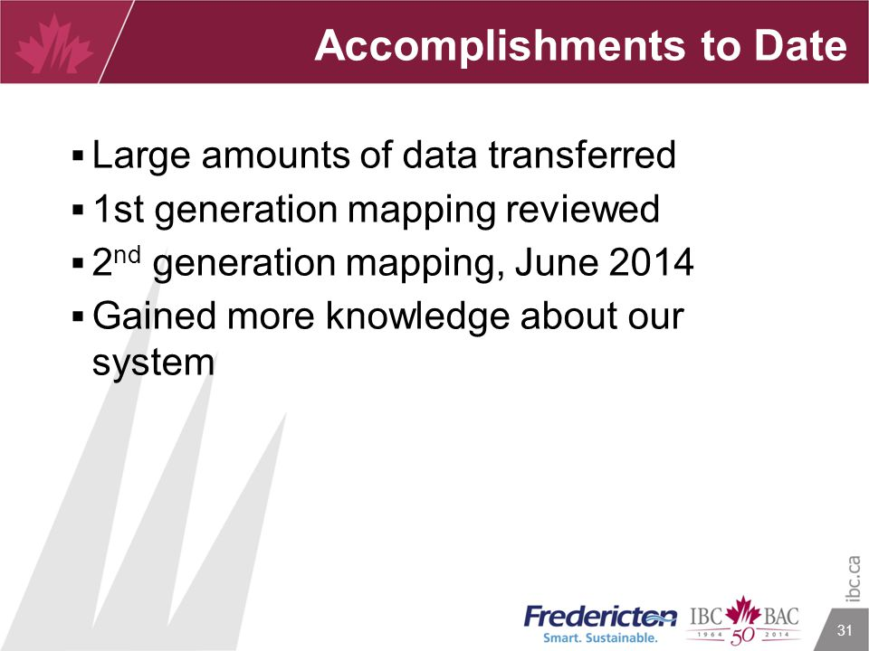 31  Large amounts of data transferred  1st generation mapping reviewed  2 nd generation mapping, June 2014  Gained more knowledge about our system