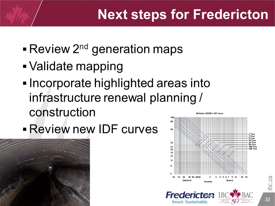 32 Next steps for Fredericton  Review 2 nd generation maps  Validate mapping  Incorporate highlighted areas into infrastructure renewal planning /