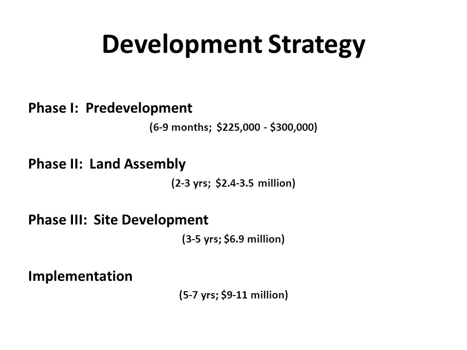Development Strategy Phase I: Predevelopment (6-9 months; $225,000 - $300,000) Phase II: Land Assembly (2-3 yrs; $2.4-3.5 million) Phase III: Site Development (3-5 yrs; $6.9 million) Implementation (5-7 yrs; $9-11 million)
