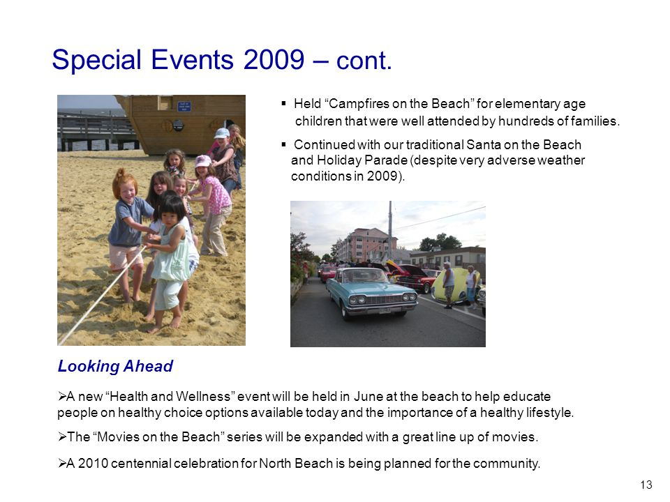 """Special Events 2009 – cont.  Held """"Campfires on the Beach"""" for elementary age children that were well attended by hundreds of families.  Continued w"""