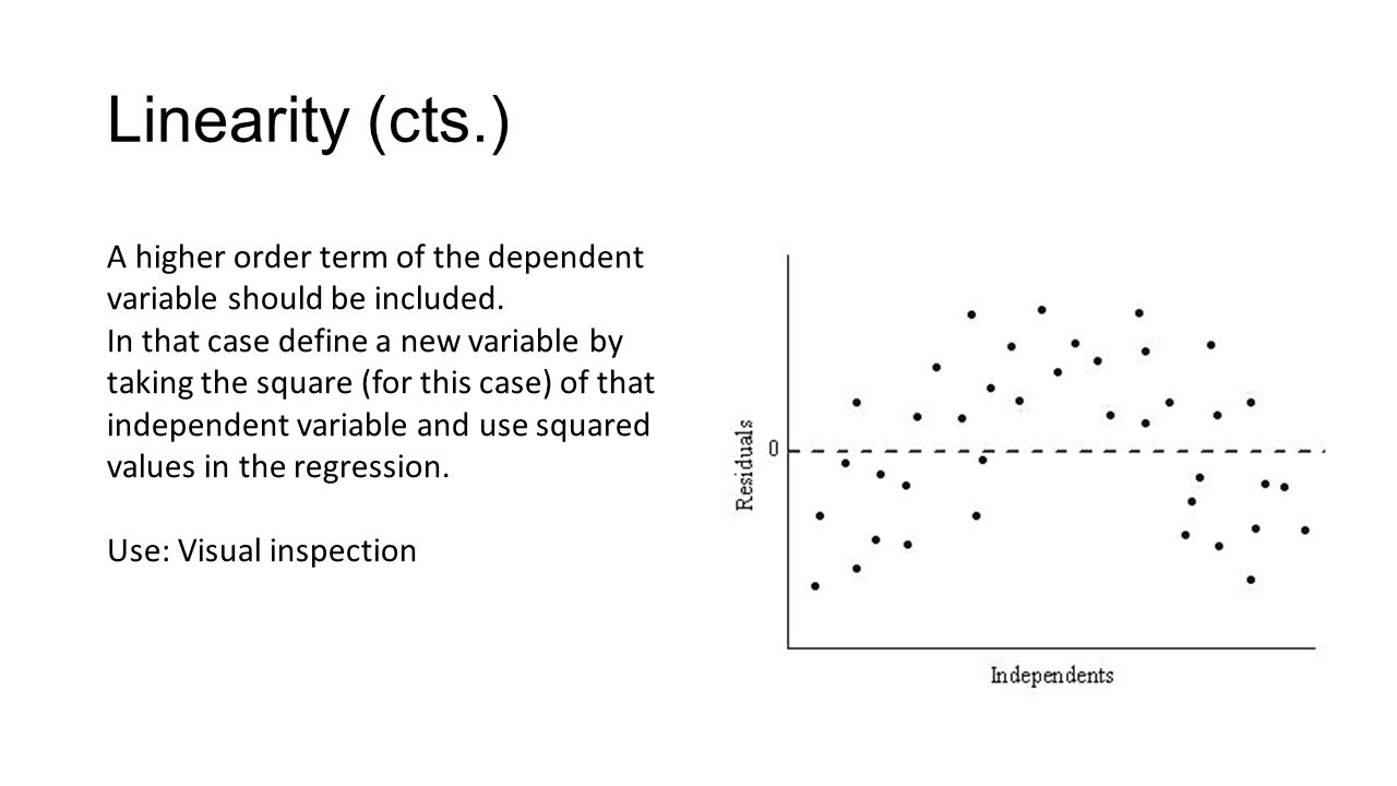 Linearity (cts.) A higher order term of the dependent variable should be included.