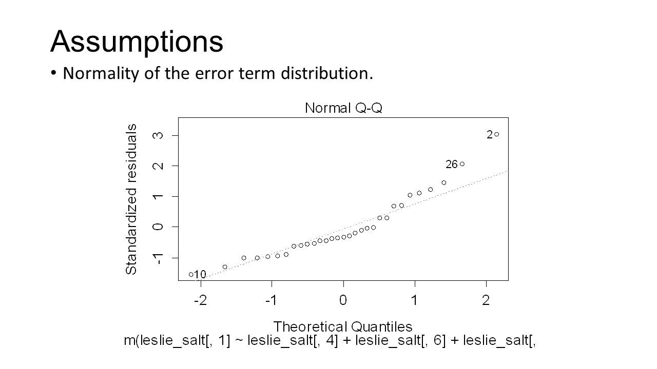Assumptions Normality of the error term distribution.