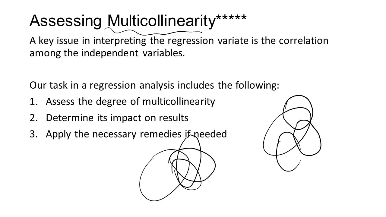 Assessing Multicollinearity***** A key issue in interpreting the regression variate is the correlation among the independent variables.
