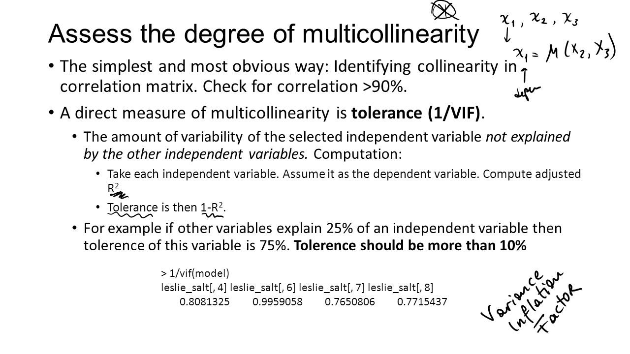 Assess the degree of multicollinearity The simplest and most obvious way: Identifying collinearity in correlation matrix.