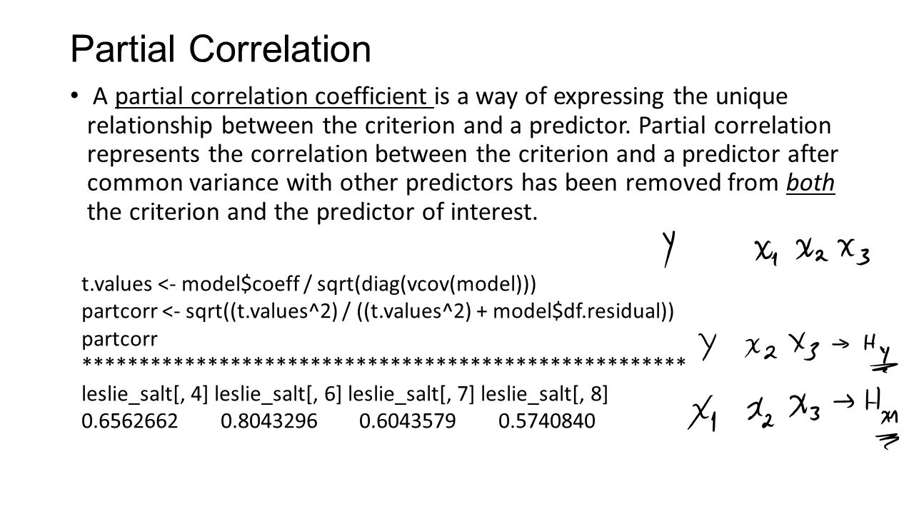 Partial Correlation A partial correlation coefficient is a way of expressing the unique relationship between the criterion and a predictor.