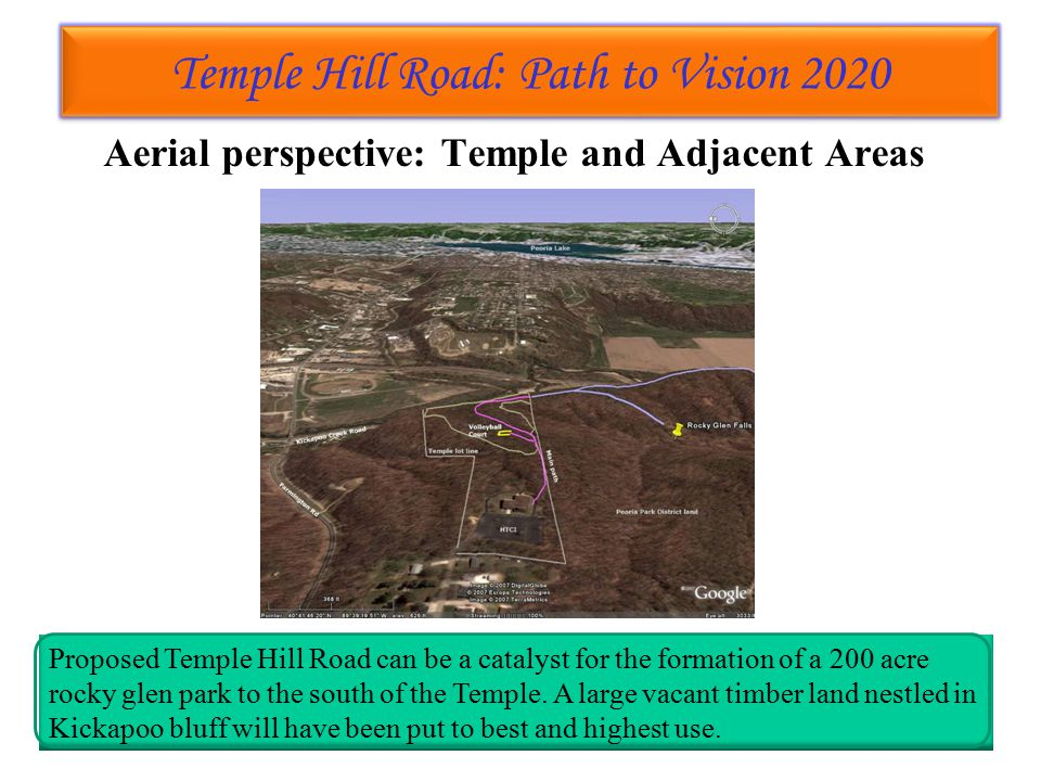 Temple Hill Road: Path to Vision 2020 Temple Hill Road: Path to Vision 2020 Aerial perspective: Temple and Adjacent Areas Proposed Temple Hill Road can be a catalyst for the formation of a 200 acre rocky glen park to the south of the Temple.