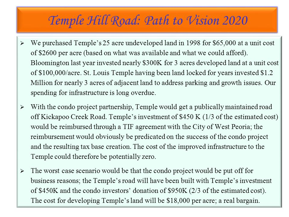 Temple Hill Road: Path to Vision 2020 Temple Hill Road: Path to Vision 2020  We purchased Temple's 25 acre undeveloped land in 1998 for $65,000 at a unit cost of $2600 per acre (based on what was available and what we could afford).