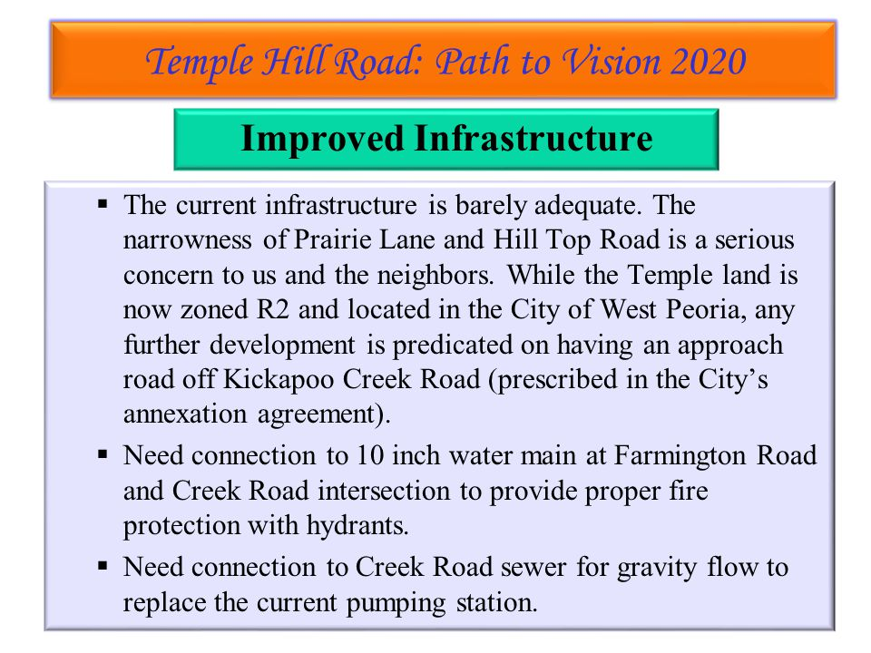 Temple Hill Road: Path to Vision 2020 Temple Hill Road: Path to Vision 2020 Improved Infrastructure  The current infrastructure is barely adequate.