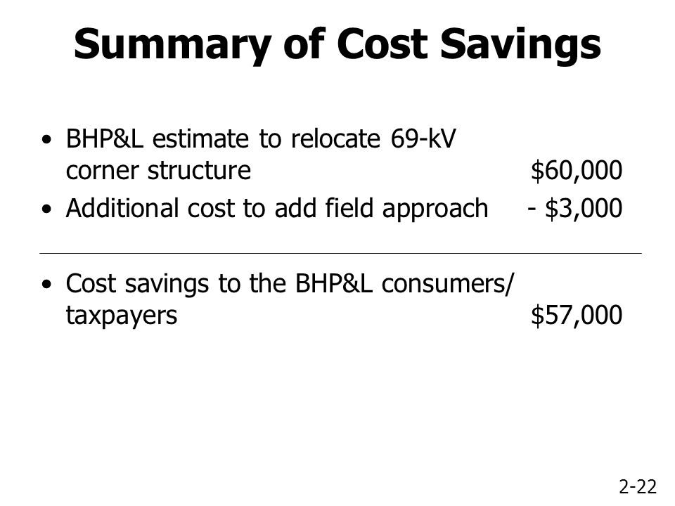 2-22 Summary of Cost Savings BHP&L estimate to relocate 69-kV corner structure$60,000 Additional cost to add field approach- $3,000 Cost savings to the BHP&L consumers/ taxpayers$57,000