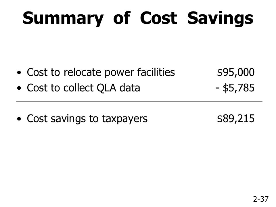 2-37 Summary of Cost Savings Cost to relocate power facilities$95,000 Cost to collect QLA data- $5,785 Cost savings to taxpayers$89,215
