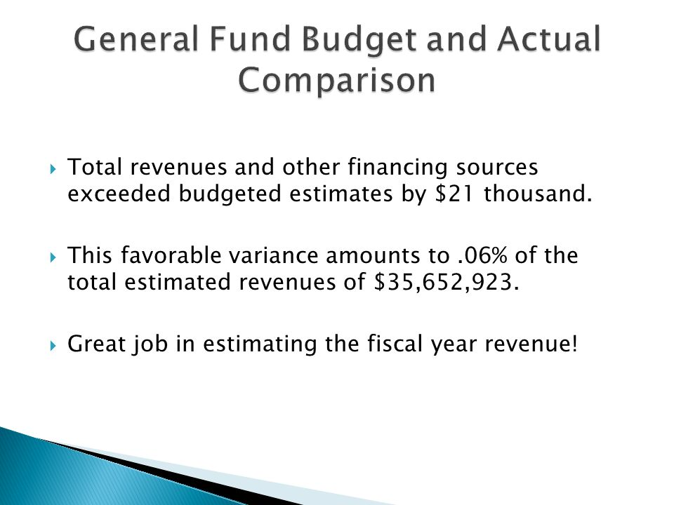 Total revenues and other financing sources exceeded budgeted estimates by $21 thousand.  This favorable variance amounts to.06% of the total estima