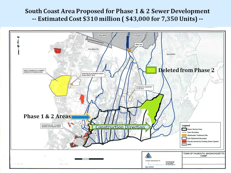 Deleted from Phase 2 Phase 1 & 2 Areas Construction Direction South Coast Area Proposed for Phase 1 & 2 Sewer Development -- Estimated Cost $310 million ( $43,000 for 7,350 Units) --