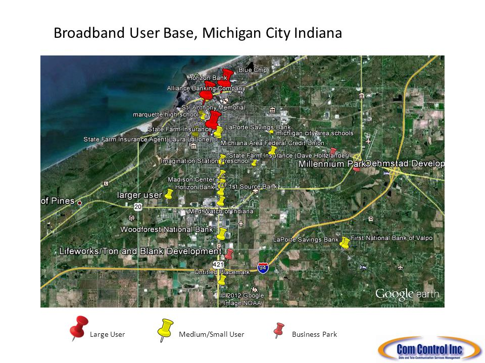 Medium/Small UserLarge User Broadband User Base, Michigan City Indiana South Shore Freight ROW Business Park