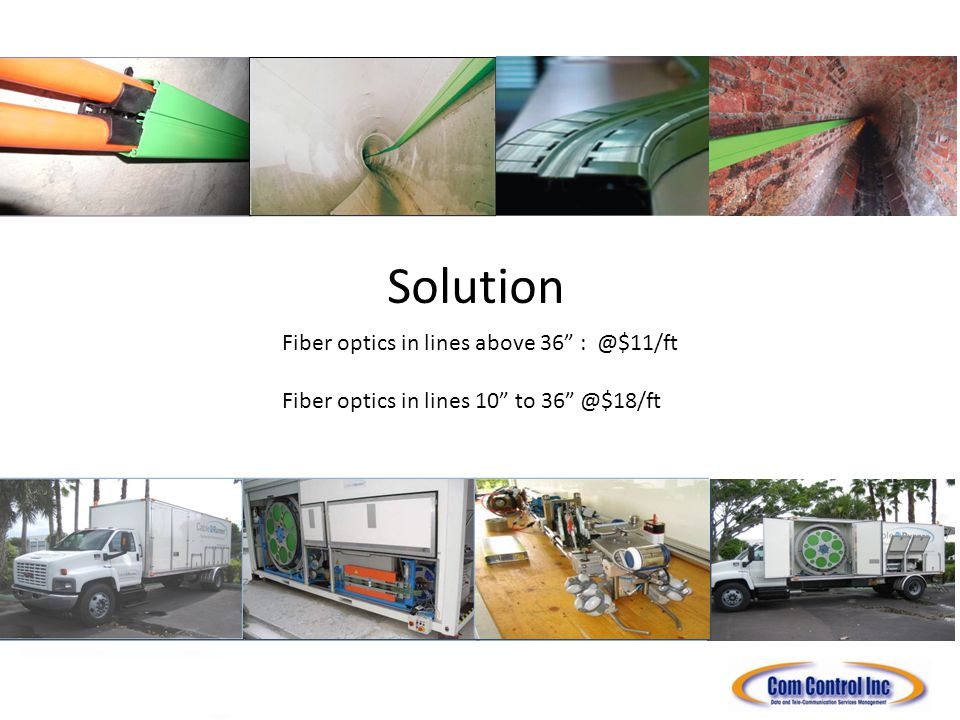 Solution Fiber optics in lines above 36 : @$11/ft Fiber optics in lines 10 to 36 @$18/ft INTERNATIONAL