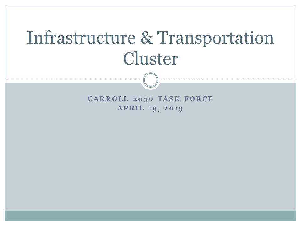 CARROLL 2030 TASK FORCE APRIL 19, 2013 Infrastructure & Transportation Cluster