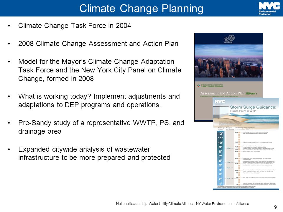 9 Climate Change Planning Climate Change Task Force in 2004 2008 Climate Change Assessment and Action Plan Model for the Mayor's Climate Change Adaptation Task Force and the New York City Panel on Climate Change, formed in 2008 What is working today.