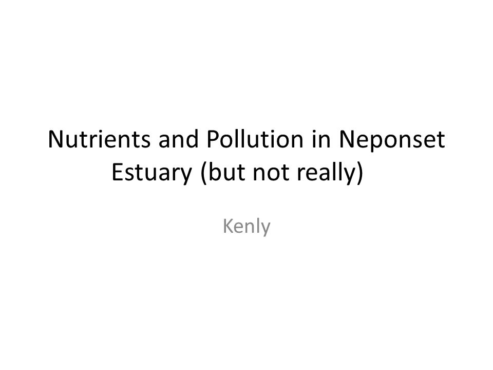 Nutrients and Pollution in Neponset Estuary (but not really) Kenly