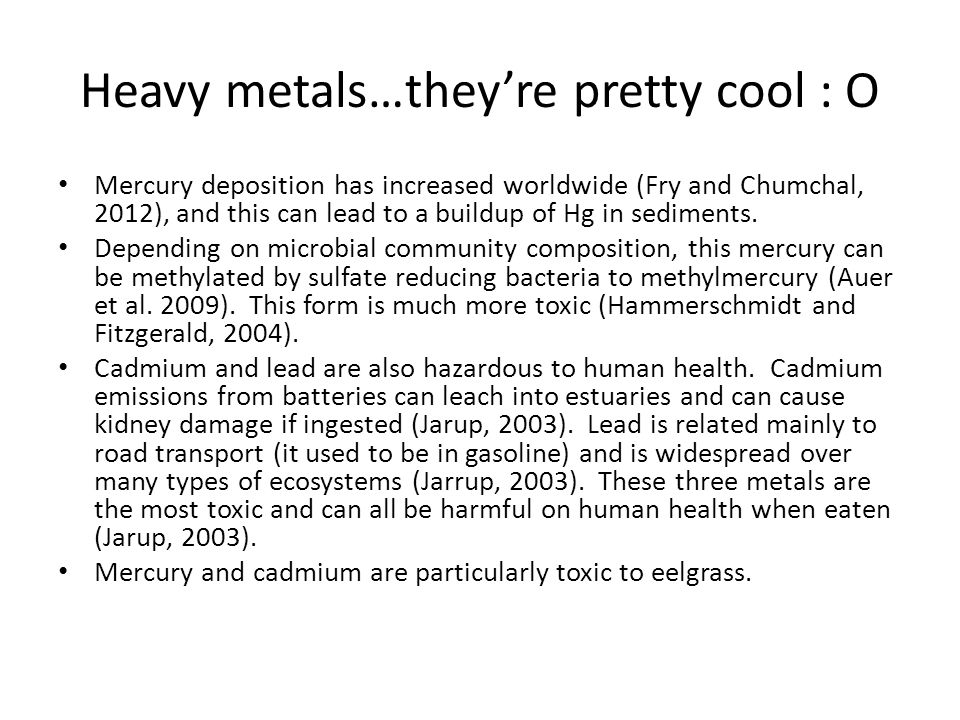 Heavy metals…they're pretty cool : O Mercury deposition has increased worldwide (Fry and Chumchal, 2012), and this can lead to a buildup of Hg in sediments.