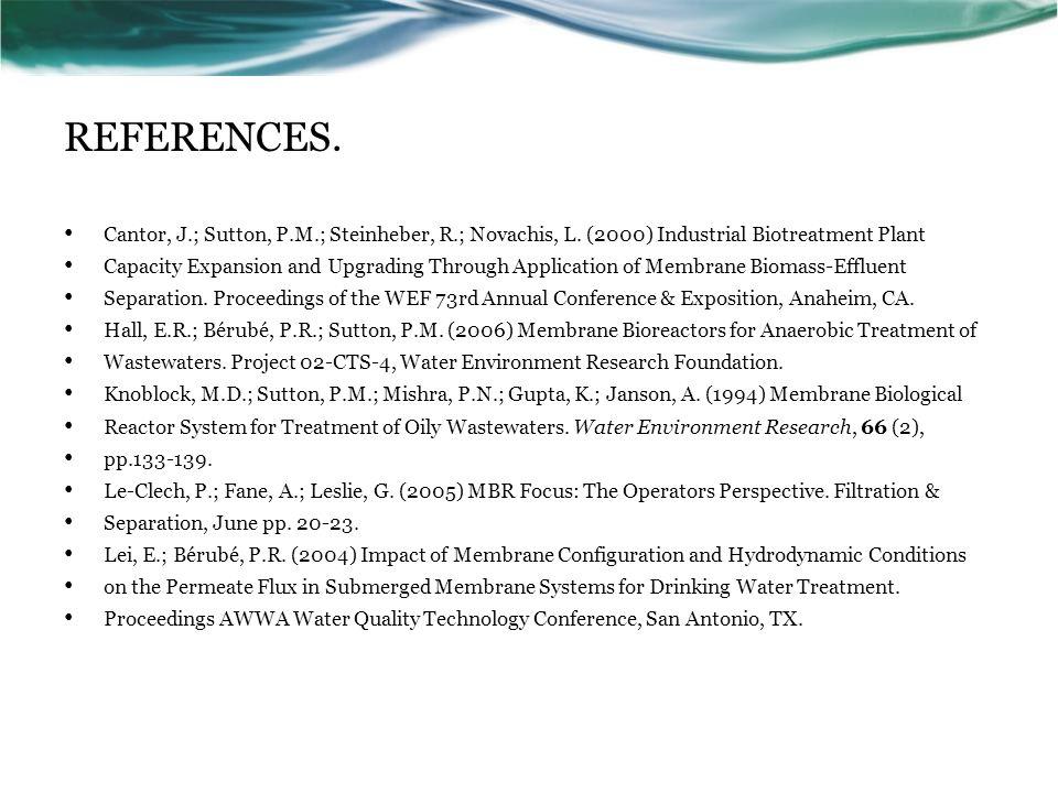 REFERENCES. Cantor, J.; Sutton, P.M.; Steinheber, R.; Novachis, L.