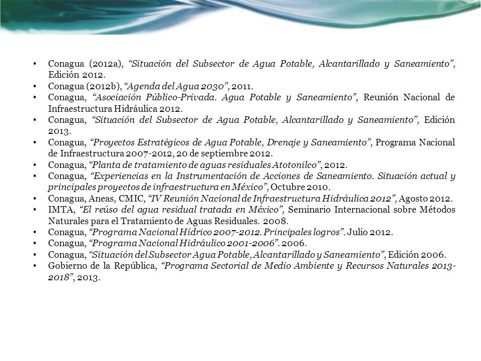 Conagua (2012a), Situación del Subsector de Agua Potable, Alcantarillado y Saneamiento , Edición 2012.