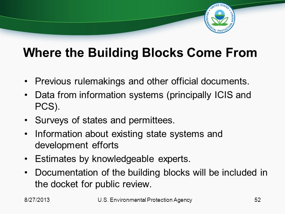 Where the Building Blocks Come From Previous rulemakings and other official documents.