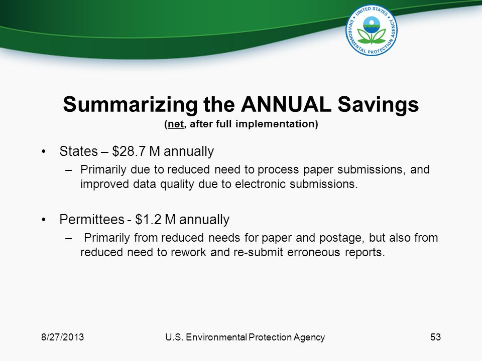 Summarizing the ANNUAL Savings (net, after full implementation) States – $28.7 M annually –Primarily due to reduced need to process paper submissions, and improved data quality due to electronic submissions.