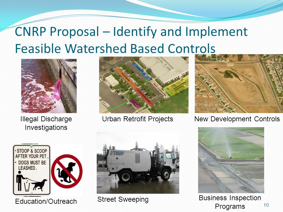 CNRP Proposal – Identify and Implement Feasible Watershed Based Controls Illegal Discharge Investigations Urban Retrofit Projects Education/Outreach B