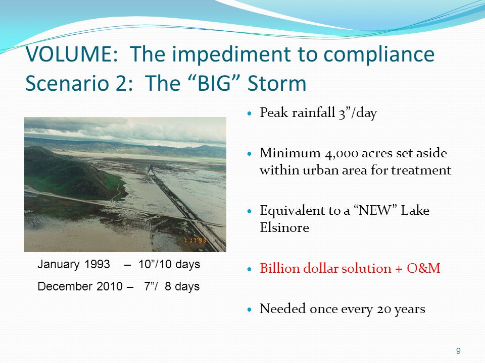 "VOLUME: The impediment to compliance Scenario 2: The ""BIG"" Storm 9 January 1993 – 10""/10 days December 2010 – 7""/ 8 days Peak rainfall 3""/day Minimum"