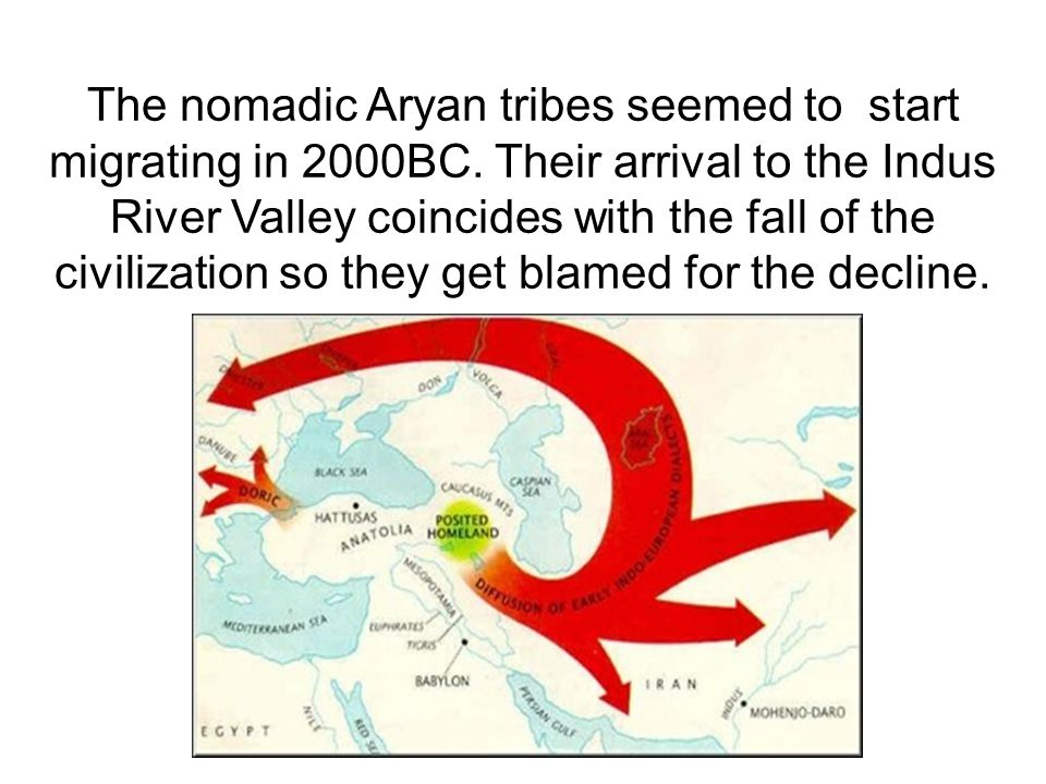 The nomadic Aryan tribes seemed to start migrating in 2000BC.