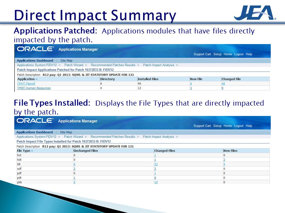 Applications Patched: Applications modules that have files directly impacted by the patch.