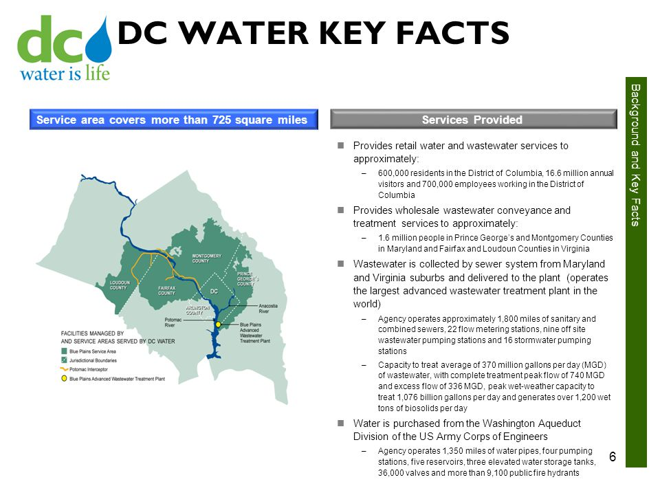 DC WATER KEY FACTS Service area covers more than 725 square miles Services Provided Provides retail water and wastewater services to approximately: –600,000 residents in the District of Columbia, 16.6 million annual visitors and 700,000 employees working in the District of Columbia Provides wholesale wastewater conveyance and treatment services to approximately: –1.6 million people in Prince George's and Montgomery Counties in Maryland and Fairfax and Loudoun Counties in Virginia Wastewater is collected by sewer system from Maryland and Virginia suburbs and delivered to the plant (operates the largest advanced wastewater treatment plant in the world) –Agency operates approximately 1,800 miles of sanitary and combined sewers, 22 flow metering stations, nine off site wastewater pumping stations and 16 stormwater pumping stations –Capacity to treat average of 370 million gallons per day (MGD) of wastewater, with complete treatment peak flow of 740 MGD and excess flow of 336 MGD, peak wet-weather capacity to treat 1,076 billion gallons per day and generates over 1,200 wet tons of biosolids per day Water is purchased from the Washington Aqueduct Division of the US Army Corps of Engineers –Agency operates 1,350 miles of water pipes, four pumping stations, five reservoirs, three elevated water storage tanks, 36,000 valves and more than 9,100 public fire hydrants 6 Background and Key Facts