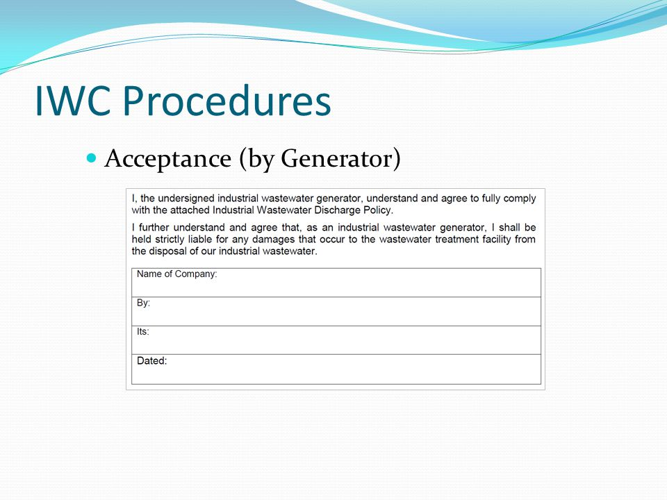 IWC Procedures Acceptance (by Generator)